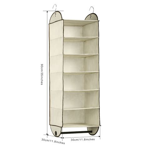 Hanging Wardrobe by Foldable 6 Shelf Fabric Hanging Closet Organizer Storage