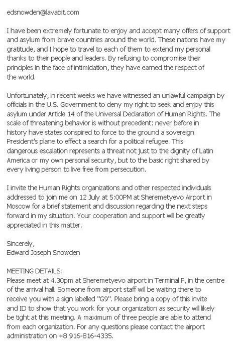 Invitation Letter For Political Meeting Snowden Asks For Political Asylum In Russia Meeting S Participant News Russia The Voice