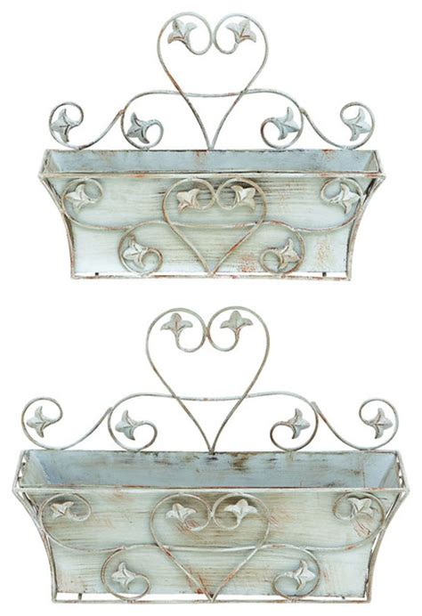 classic metal wall planter with rustic finish set of 2