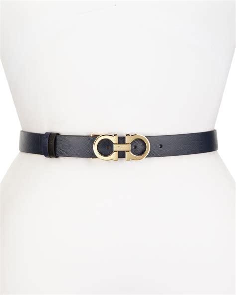 ferragamo reversible gancini buckle leather belt in blue