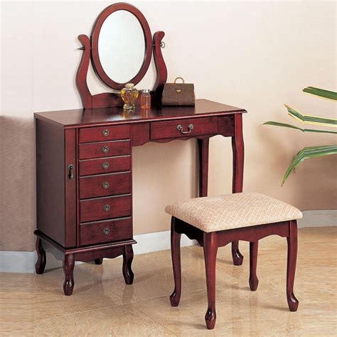 Vanity Table And Stool by Cherry Traditional Oval Swivel Mirror Make Up Table Fabric