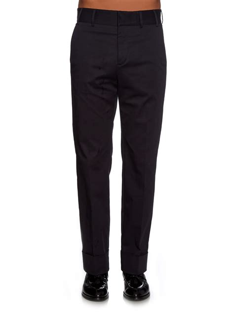 Hem Guchi Black lyst gucci turn up hem cotton gabardine trousers in