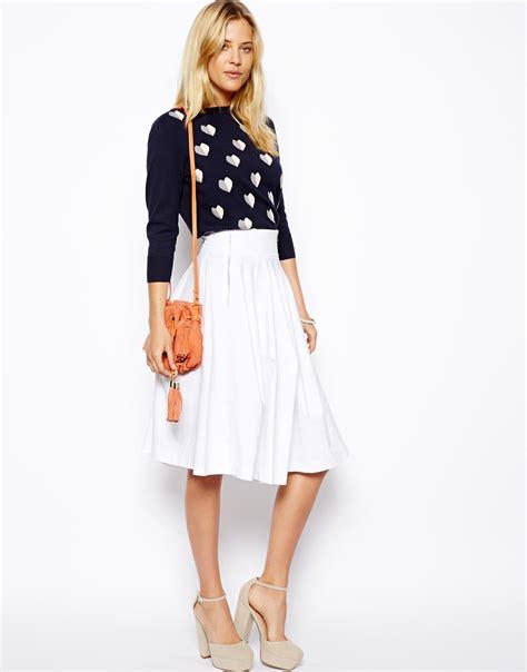 asos midi skirt with zips in white lyst