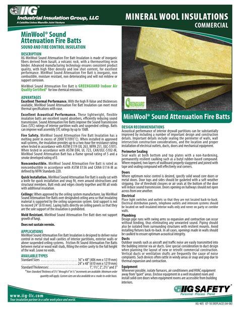 sound attenuation batt insulation r value mineral wool iig safb data sheet by macopa issuu