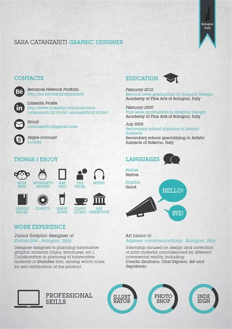 Cool Resume Designs by 20 Cool Resume Cv Designs