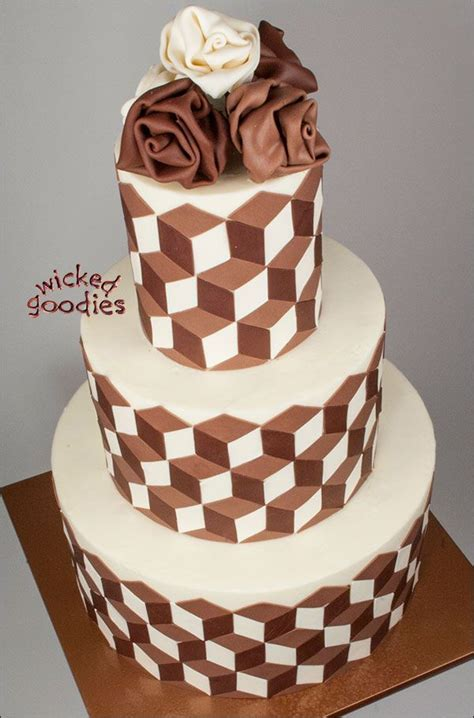 optical illusion cake design modeling chocolate cake