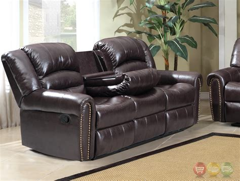 brown leather sofa with nailhead trim 684 brown leather reclining sofa with console and nailhead
