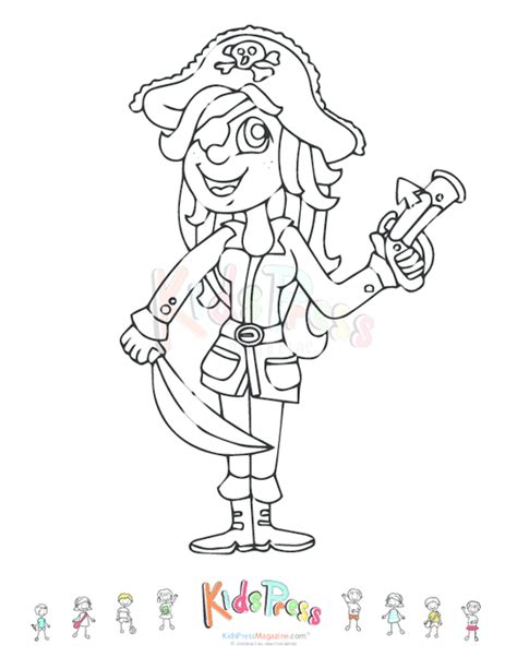 printable coloring page girl pirate kidspressmagazine com