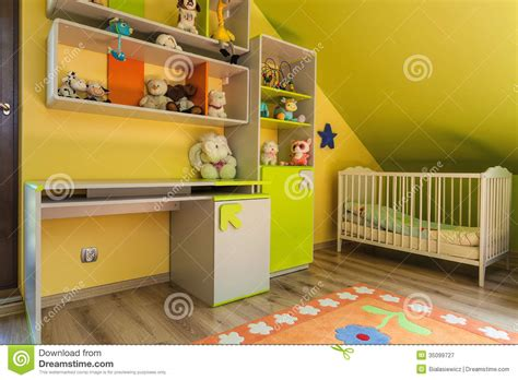 yellow baby bedroom urban apartment green and yellow interior royalty free stock photography image