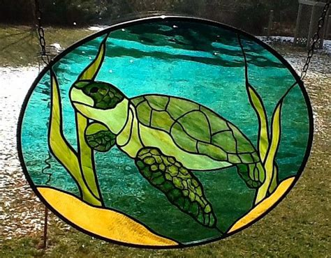 stained glass turtle l sea turtle oval stained glass window panel glass