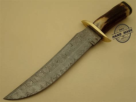 Damascus Steel Kitchen Knives Professional Damascus Bowie Knife Custom Handmade Damascus