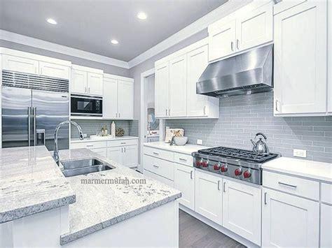 Meja Marmer Putih Abu Lung Meja Kitchen Granit Putih Granit Viscon White Vaganza