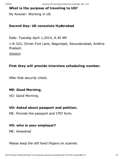 Letter Format For Visa Purpose Interesting H1b Visa Sting Experience At Hyderabad India 2014