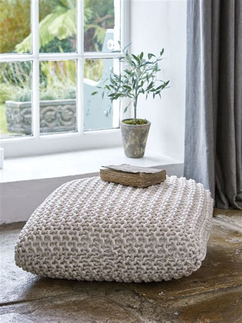 white floor cushion chunky knit floor cushion soft white nordic house