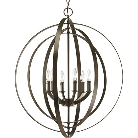 Orb Lighting Pendants Progress Lighting Equinox Collection 6 Light Antique Bronze Orb Pendant P3889 20 The Home Depot
