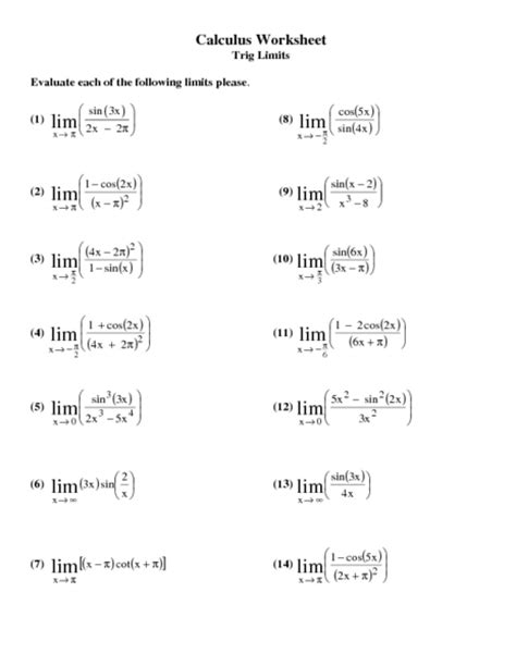 Outer Limits The Ap Calc Worksheet