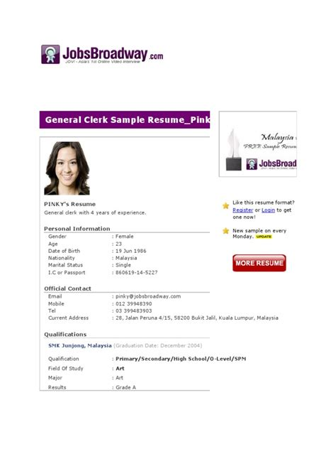 Resume Sle For After Spm general clerk sle resume