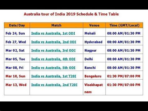 australia   india  schedule time table youtube
