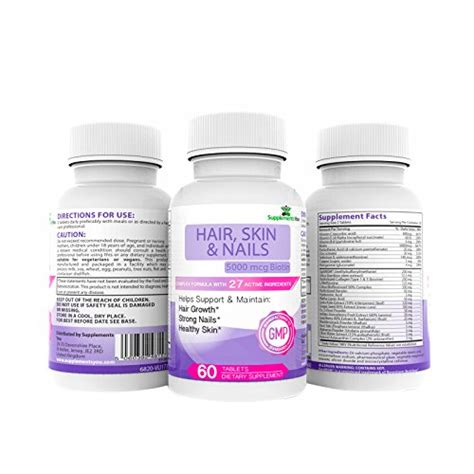 supplement 27 for hair and skin hair skin and nails 10 000mcg of biotin 60 premium