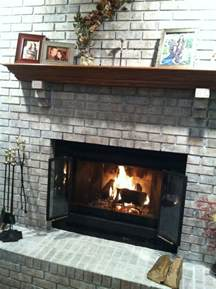 diy whitewash brick fireplace home redo