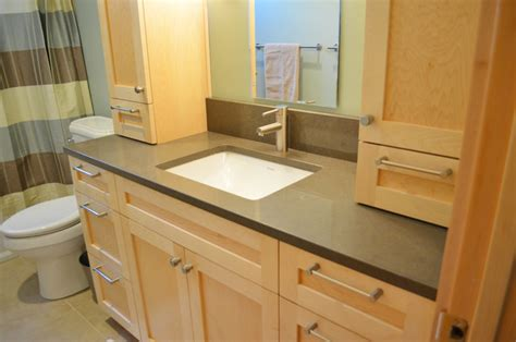 Quartz Countertops Bathroom Vanities by Guest Bath New Maple Vanity With Caesarstone Quartz