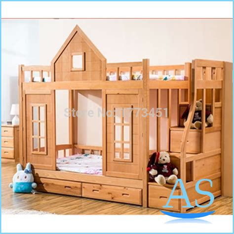 kids double bed 2015 hot sale wooden kids bunk bed beech wood children