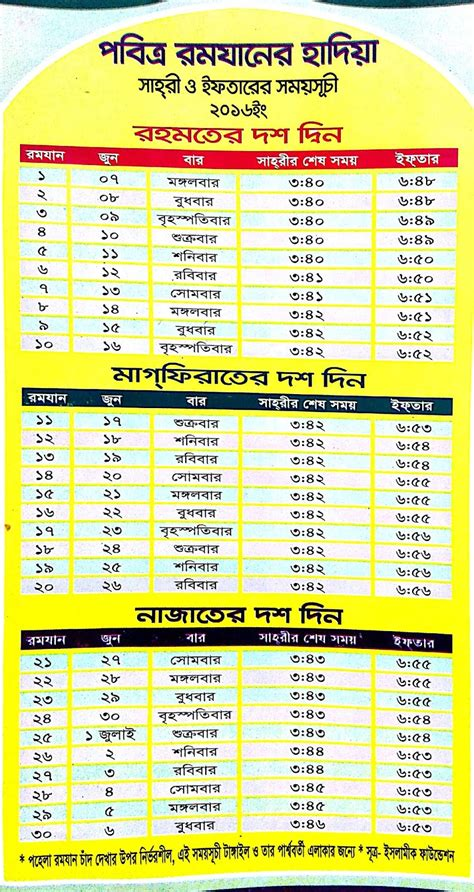 Ramadan Timetable Template