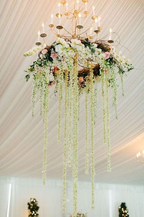 wedding decoration trend floralgreenery chandelier