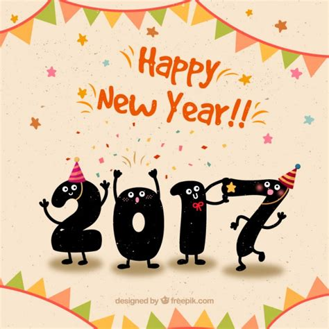 cute happy new year background in funny style vector