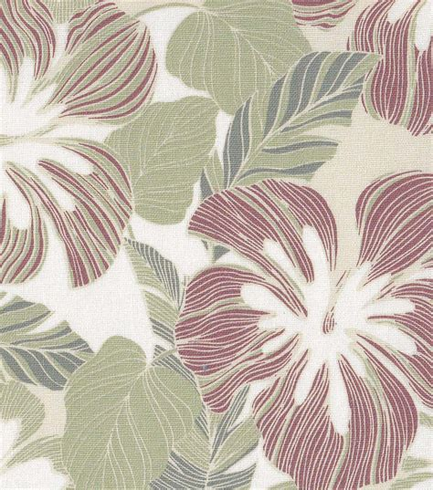 tropical fabric large line leaf green rust home decor