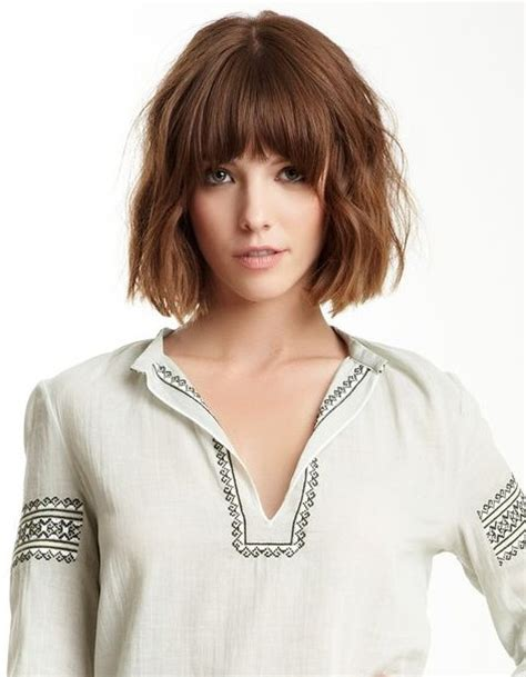 haircuts tousled bob tousled curly bob hairstyle with blunt bangs pretty designs