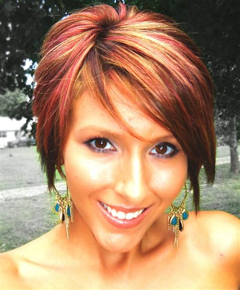 pixie haircut and highlight short bob long pixie red highlights hair pinterest