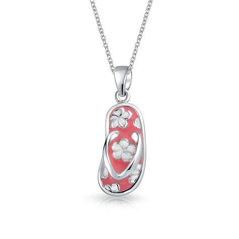 bling jewelry sterling silver pink enamel flower flip flop