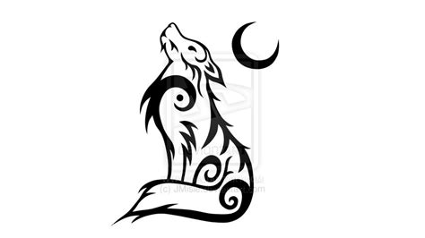 tribal wolf and moon tattoo wolf tribal 2 by jmisle on deviantart
