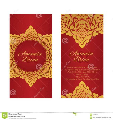 wedding invitation design red motif two greeting cards in east style on red background stock