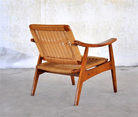 select modern hans wegner style rope lounge chair