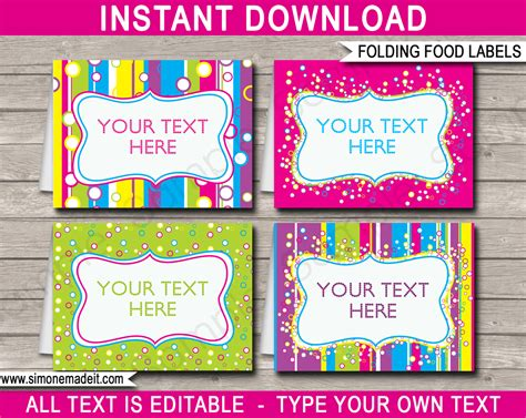 free template food cards colorful food labels place cards printable editable