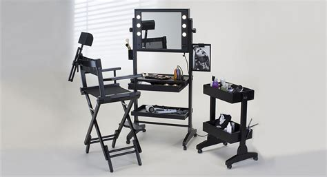 station with lights rolling makeup station with led neutral lights