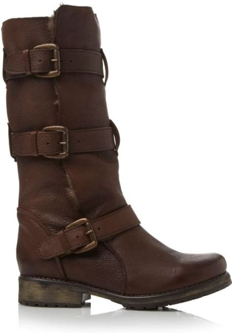 Steve Madden 12 by Steve Madden Fur Lined Buckle Detail Boots In Brown Lyst