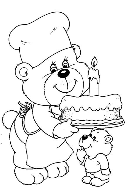 bears birthday printable coloring pages  kids coloring point