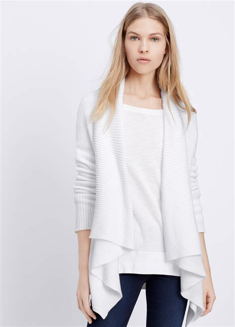 white drape front cardigan vince cotton drape front cardigan in white lyst