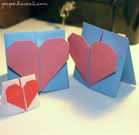 Origami For Cards - origami valentines day card tutorial paper kawaii