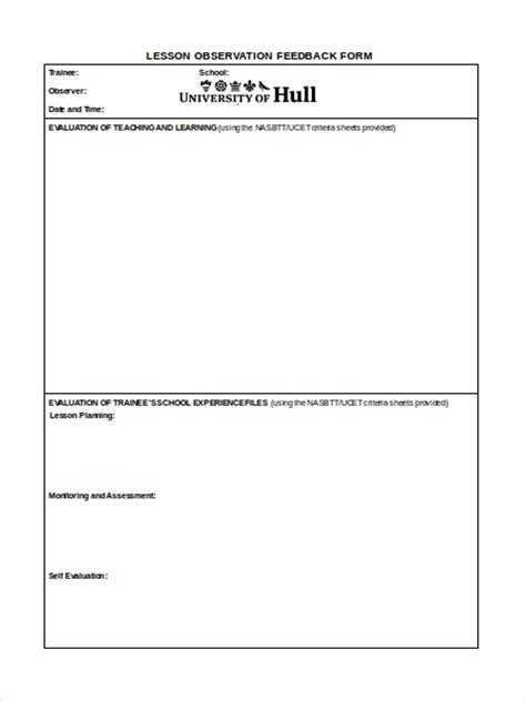 lesson feedback form template 17 feedback form templates
