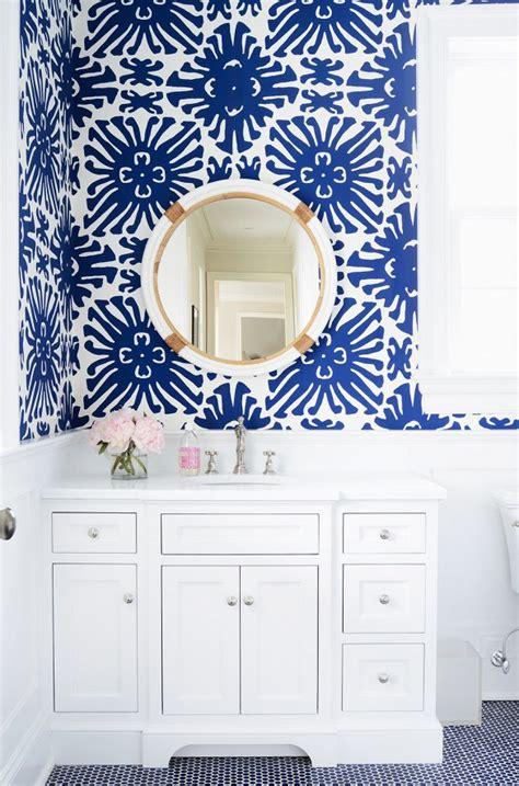 blue bathroom wallpaper the zhush s preppy connecticut home tour