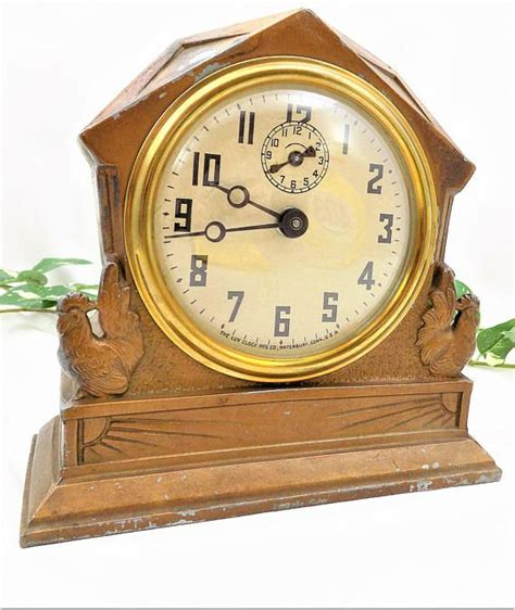 clock with rooster design metal wind up clock novelty alarm clock by clock