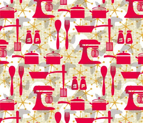 really retro kitchen fabric littlerhodydesign spoonflower