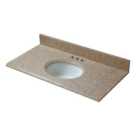 Home Depot Granite Vanity Top by Pegasus 37 In W Granite Vanity Top In Beige With White