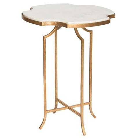 marble gold side table gillian notched white marble gold side table