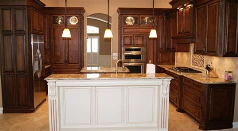 Rta Espresso Kitchen Cabinets With White Island Roy Home White And Espresso Kitchen Cabinets