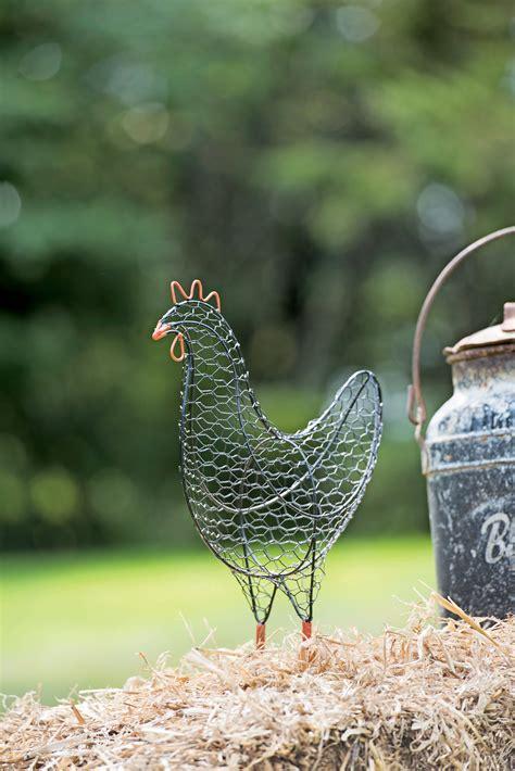 wire chicken metal yard art folk art gardeners supply